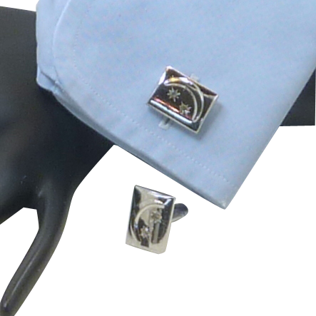 Moon and Rhinestone Stars Silver Toned Cufflinks Cuff Links