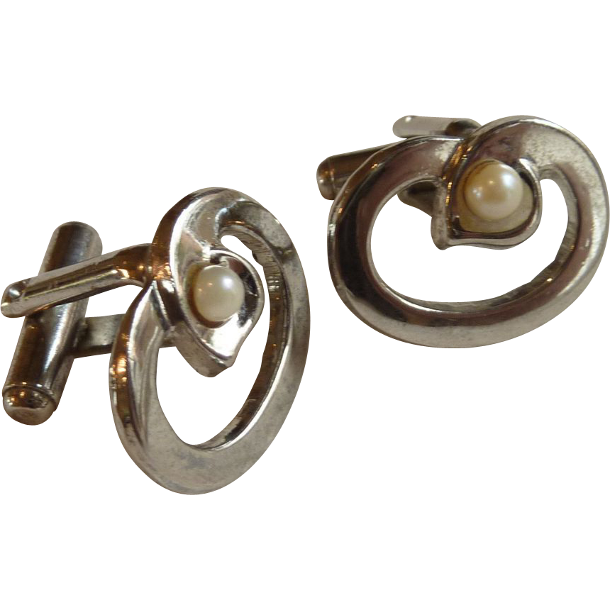 Silver Tone Circle Loop with Faux Pearl Cuff Links Cufflinks