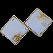 White Tile Gold Tone Clip Tie Bar