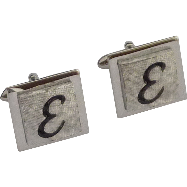 "Swank Silver Tone ""E"" Initial Cufflinks Cuff Links"