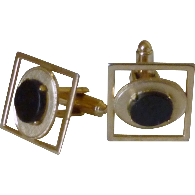 Gold Tone Square Black Onyx Cuff Links Cufflinks