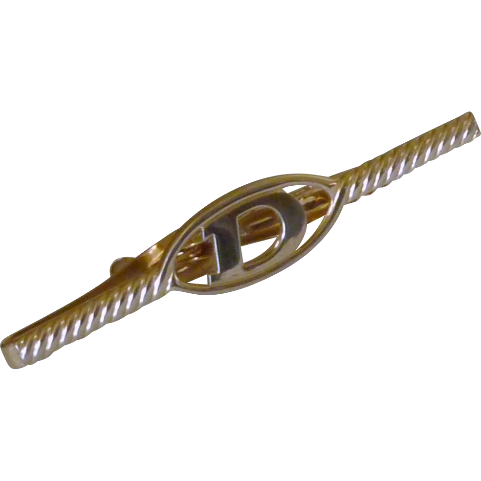 Gold Tone Large D Initial Tie Bar Clip