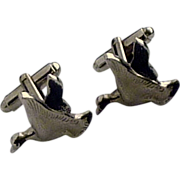 Silver Tone Flying Duck Cuff Links Cufflinks
