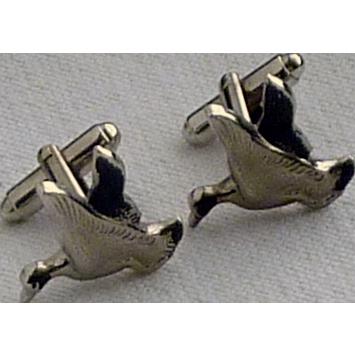 Silver Tone Flying Duck Cuff Links Cufflinks