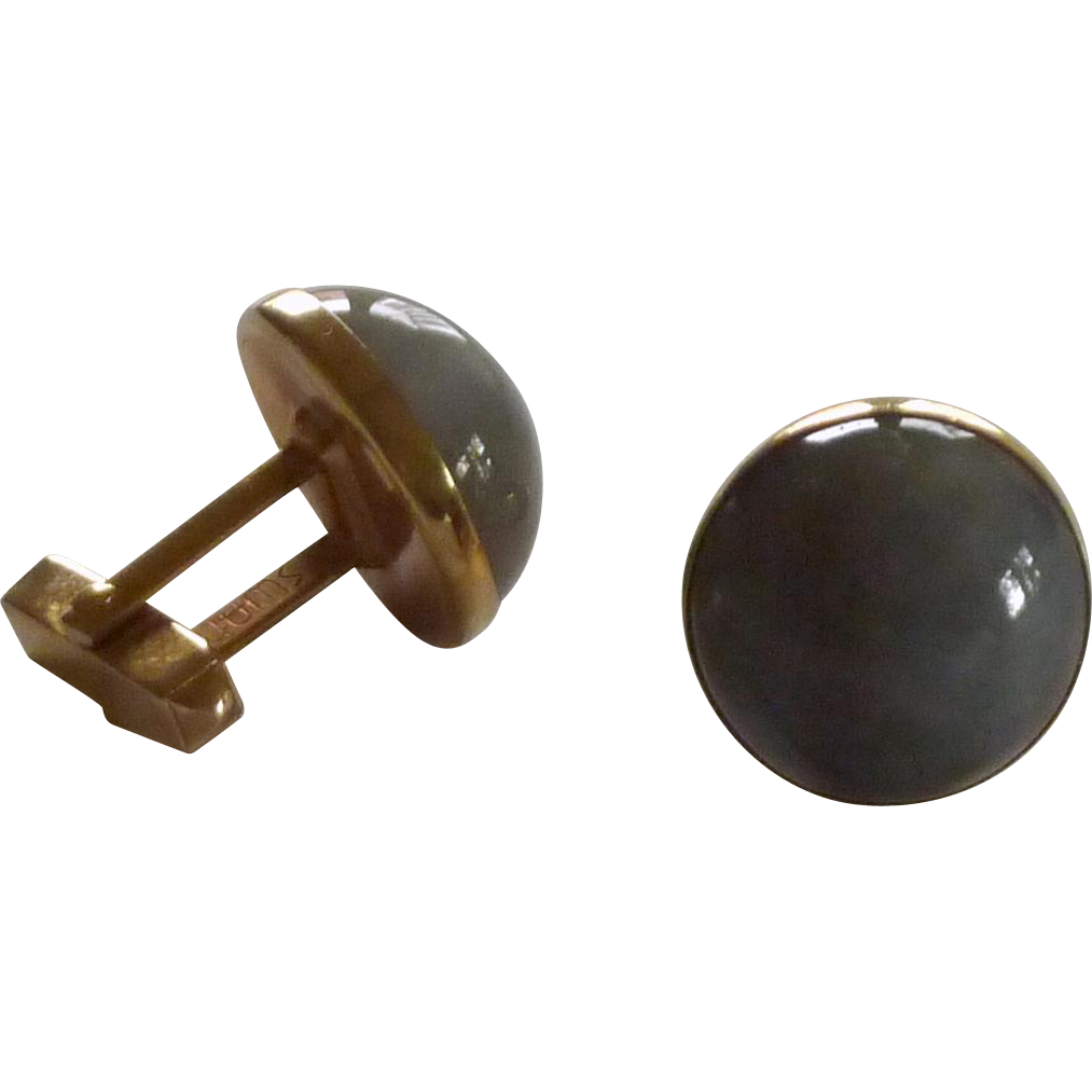Swank Grey Moon Stone Glass Cuff Links Cufflinks
