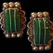 Ornate Mexican Sterling Silver Green  Screw On Earrings