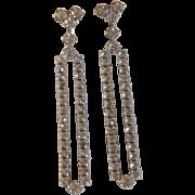 Long Diamond Rhinestone Screw Earrings