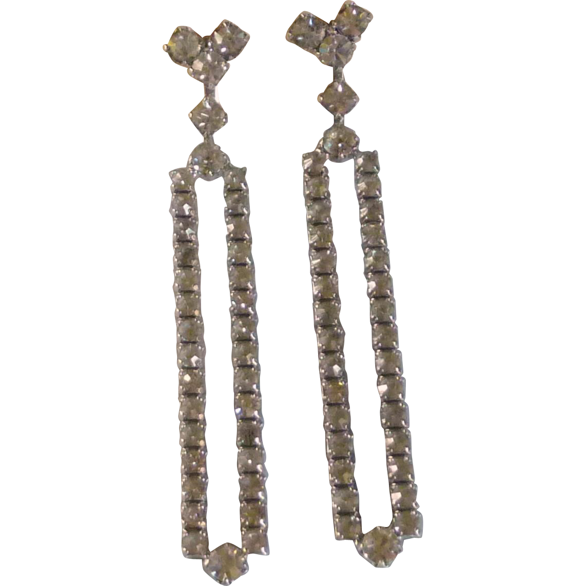 Long Diamond Rhinestone Screw Earrings