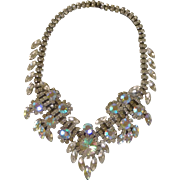 Vintage Big Luxury Clear Diamond Rhinestone Necklace