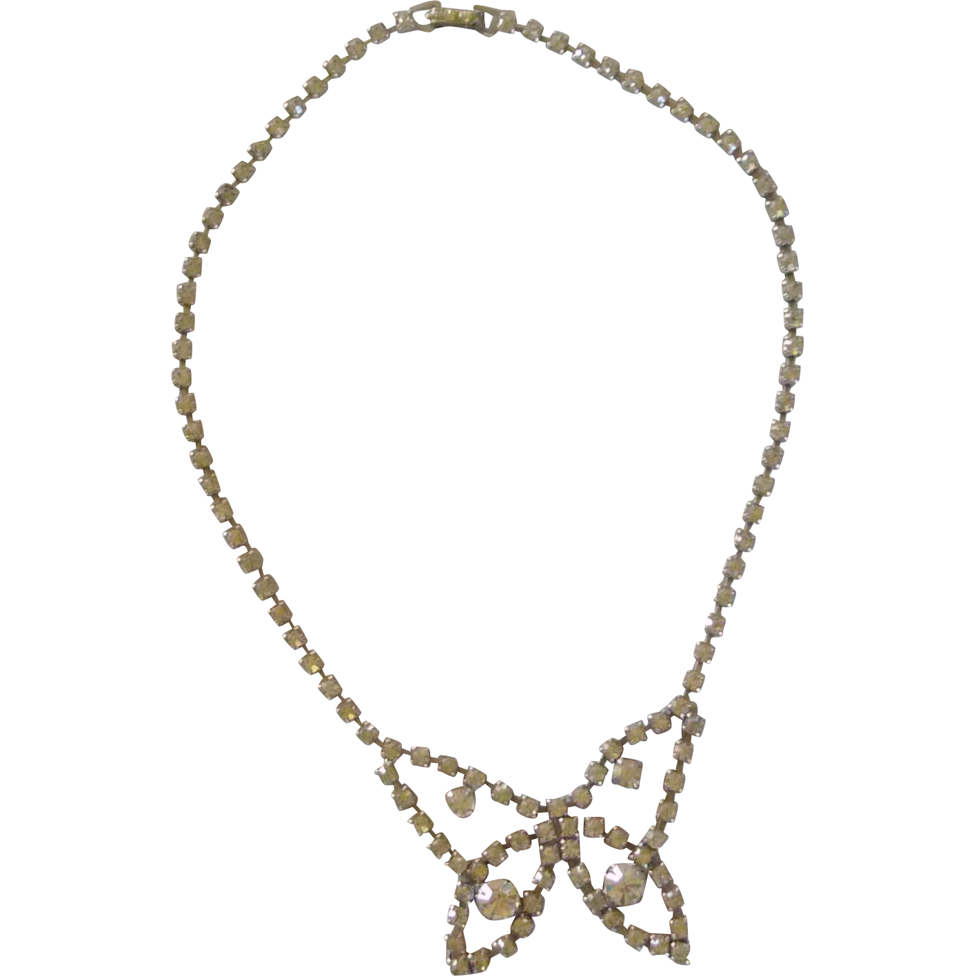 Rhinestone Diamond Butterfly Shape Necklace 1960's