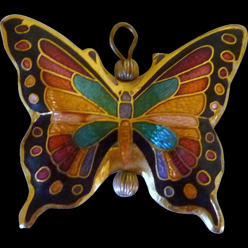 Cloisonné Butterfly Necklace Pendant