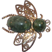 Gold Filled Filigree Bee Bug with Green Stone Pin