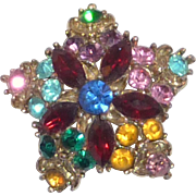 Five Star Colorful Rhinestone Pin Brooch