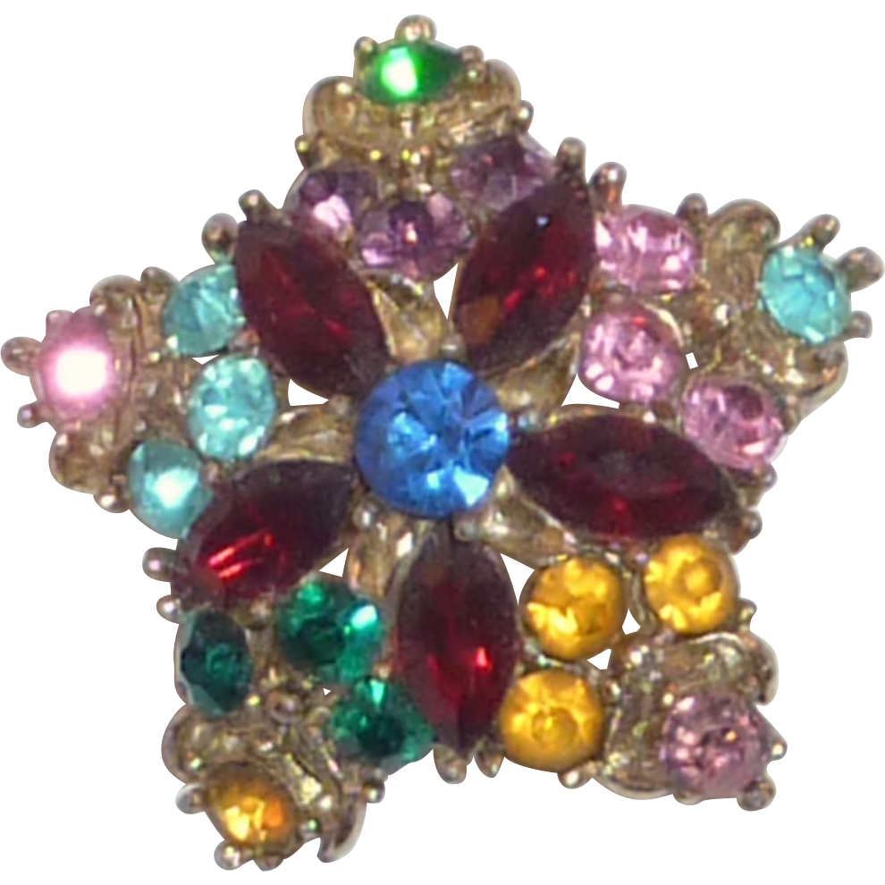 Five Pointed Star Colorful Rhinestone Pin Brooch