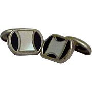 Art Deco Mother of Pearl Black and White Cufflinks Cuff Links