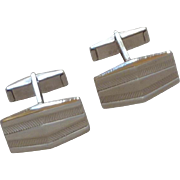 Silver Tone Rectangle Simple Cufflinks Cuff Links