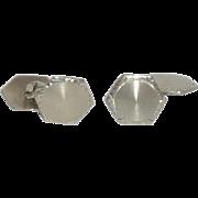 Six Sided Small Silver Tone Cuff Links Cufflinks
