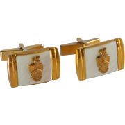 Mother of Pearl Gold Tone with Shield Emblem Cufflinks Cuff Links