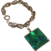 Silver Tone Chunky Bracelet with Large Charm