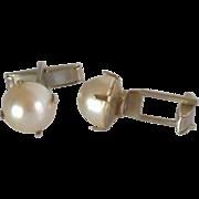Silver Tone Large Faux Pearl Plain Cufflinks Cuff Links
