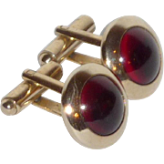 1950's Round Gold Tone Red Domed Cufflinks Cuff Links