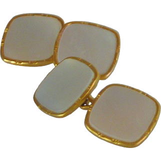 Gold Filled White Mother of Pearl Cuff Links Cufflinks