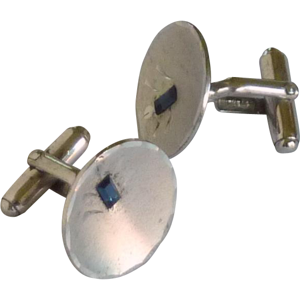 Anson Sterling Silver with Blue Glass Cuff Links Cufflinks