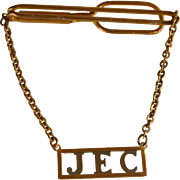 Vintage Gold Tone Initial JEC Tie Bar with Chain
