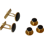 Pioneer Black Gold Tone Tuxedo Cufflinks and Studs