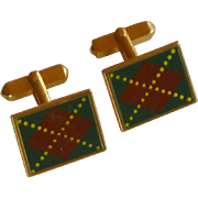 Green & Maroon Plaid Swank Cufflinks Cuff Links