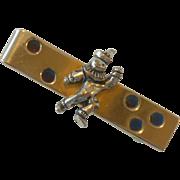 Anson Silver Tone Clown on Gold Tone Tie Bar Clip