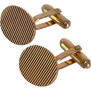 Textured Ridges Gold Filled Cufflinks Cuff Links