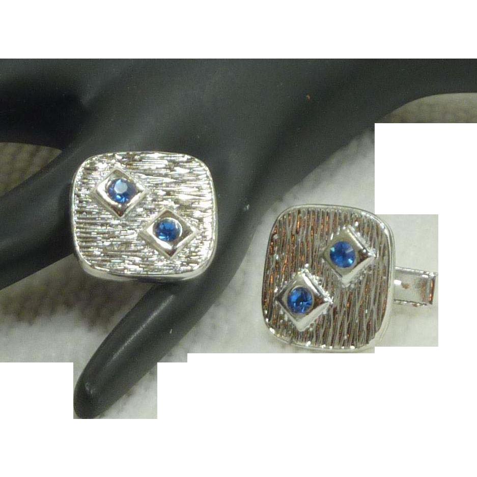 Silver Tone Square Blue Rhinestone Cuff Links Cufflinks