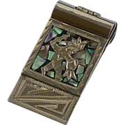 Inlaid Abalone Silver Tone Mexico Money Clip
