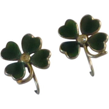 Shamrock Four Leaf Clover Enamel Screw On Earrings