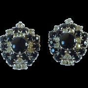 Black Stone & Diamond Rhinestone Screw On Earrings