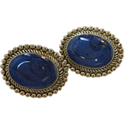 Simulated Blue Lapis Oval Framed Clip On Earrings