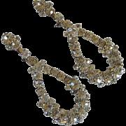 Vintage Rhinestone Diamond Dangle Screw On Earrings