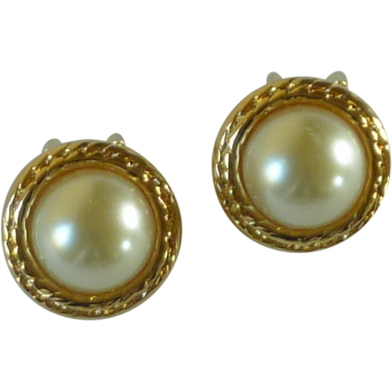 Gold Tone Faux Pearl Clip On Earrings