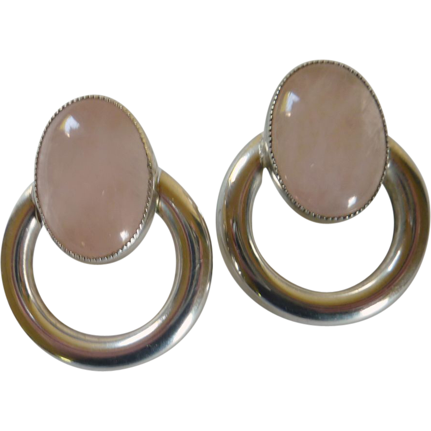 Glass Rose Quartz Cabochon Pierced Silver Tone Earring