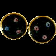 Gold Tone Black Enamel / Flowers Screw On Earrings
