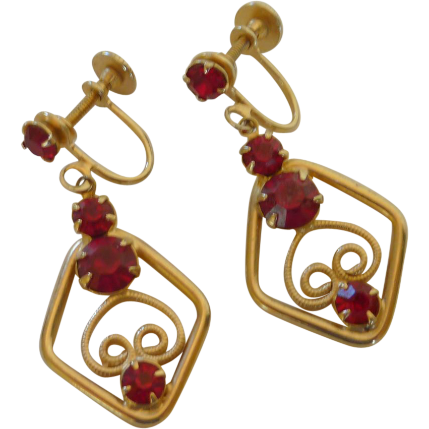 Gold Tone Red Rhinestone Dangle Screw On Earrings