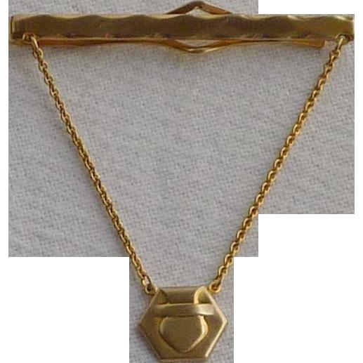 Gold Tone Anson Tie Chain Bar Clip 1930's
