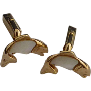 Swank Mother of Pearl Fish Cuff Links Cufflinks