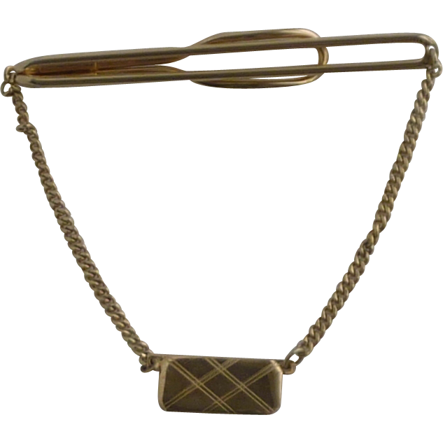 Gold Tone Swank Tie Chain Bar Clip 1930's