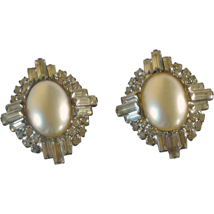 Rhinestones and Faux Pearl Clip on Earrings