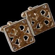 Gold Tone Flat Curb Chain Cuff Links Cufflinks