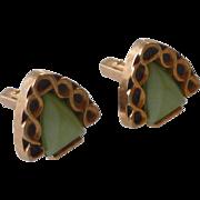 Triangle Green Plastic Gold tone Anson Cufflinks