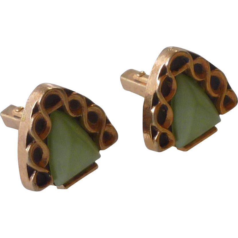 Triangle Green Plastic Gold tone Anson Cufflinks