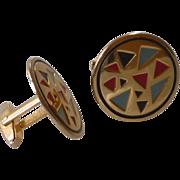 Colorful Gold Tone Round Cufflinks Cuff Links